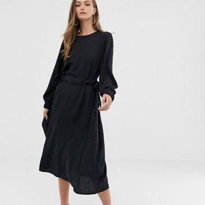 ASOS ruched waist chuck on midi dress long sleeves